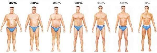 percentage lichaamsvet bij mannen